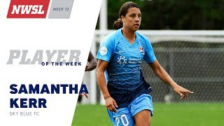 After a record-breaking hat trick performance, Sky Blue FC forward Sam Kerr has been unanimously selected as the NWSL Player of the Week for Week 12 by the NWSL Media Association.Kerr scored three goals in the final 12 minutes on Saturday as Sky Blue FC erased a 2-0 deficit to win 3-2 at home over FC Kansas City. With Kerr's first goal coming in the 78th minute, it is the latest started hat trick in NWSL history. Her final goal -- the game-winner -- came in the 90th minute to complete the comeback.
