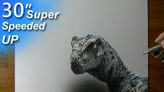 Drawing (Visual Art) Time Lapse: Velociraptor - super speeded up