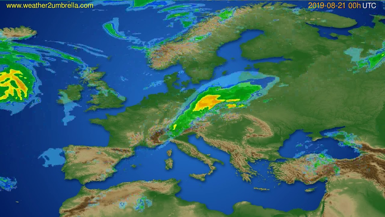 Radar forecast Europe // modelrun: 12h UTC 2019-08-20