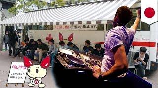 DJ献血マン登場で献血者増加(ニュース)