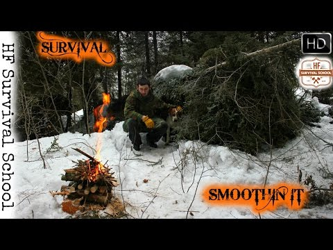 Winter Survival Shelter Overnight Bushcraft Camp - Dog , Axe , Cooking - HD Video