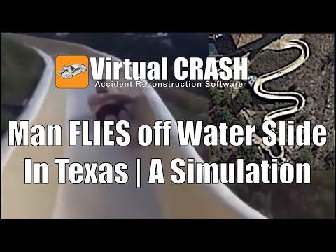 Simulation of man flying off water slide