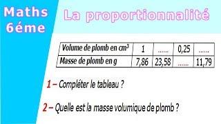 Maths 6ème - La proportionnalité la masse volumique Exercice 1