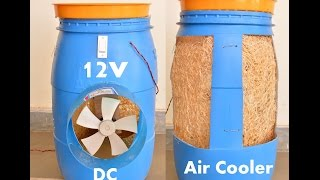 For more subscribe this channel now https://youtu.be/16H5UuXNRQYMaterial use-45 liter plastic barrel, air cooler grass pad, metal mesh,m seal, 12V DC Motor,Plastic Fan Blade, 12V DC Adaptor
