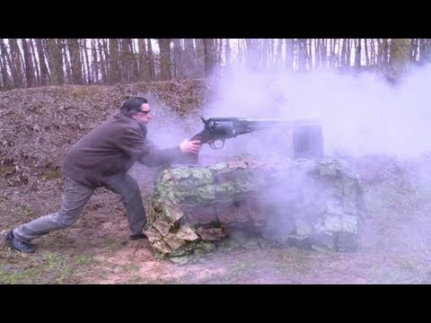 firing - A man in Poland has built the world's largest working revolver, according to Guinness World Record. The weapon, a Remington model 1859, was built by Ryszard ...