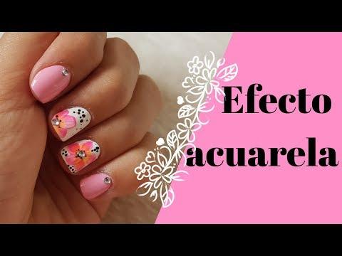 Diseños de uñas - DECORACION de uñas FLORES FÁCILES (paso a paso). #esmalterosadoclaro