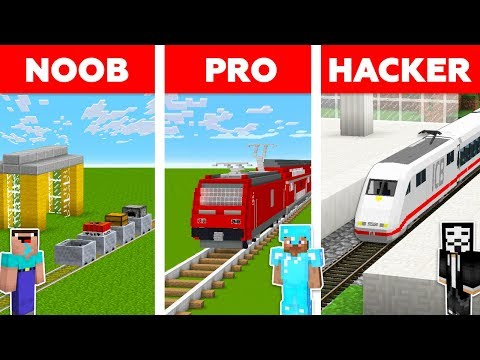 Minecraft NOOB vs PRO vs HACKER :TRAIN STATION CHALLENGE in minecraft / Animation