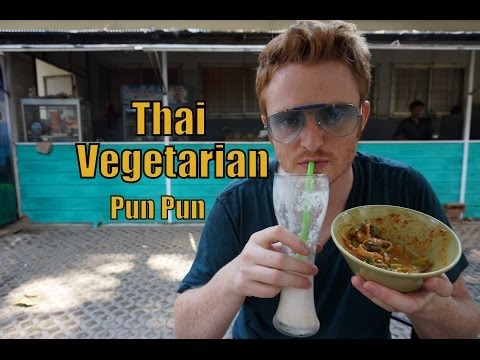 Eating Thai Vegetarian Food at Pun Pun Restaurant at Wat Suan Dok in Chiang Mai, Thailand