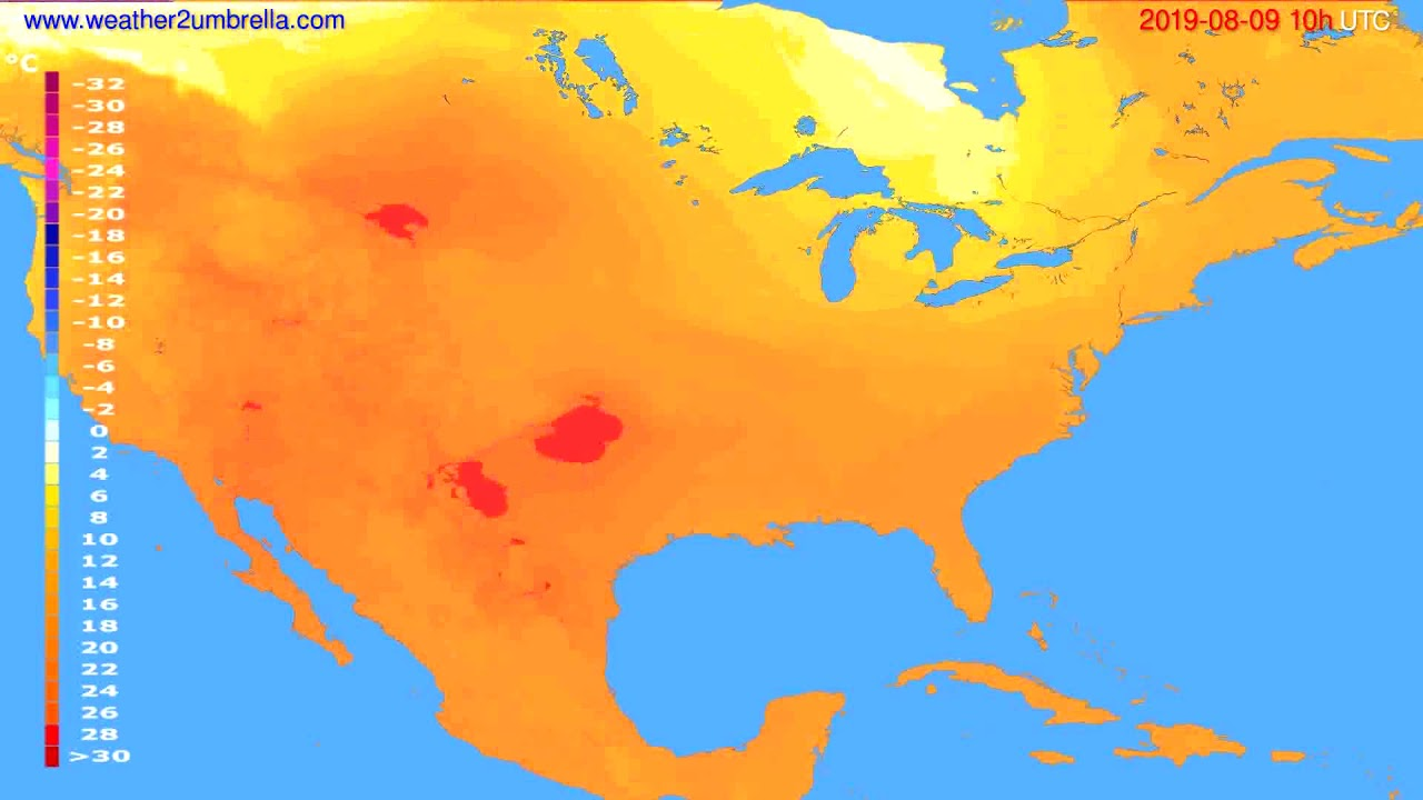 Temperature forecast USA & Canada // modelrun: 12h UTC 2019-08-06