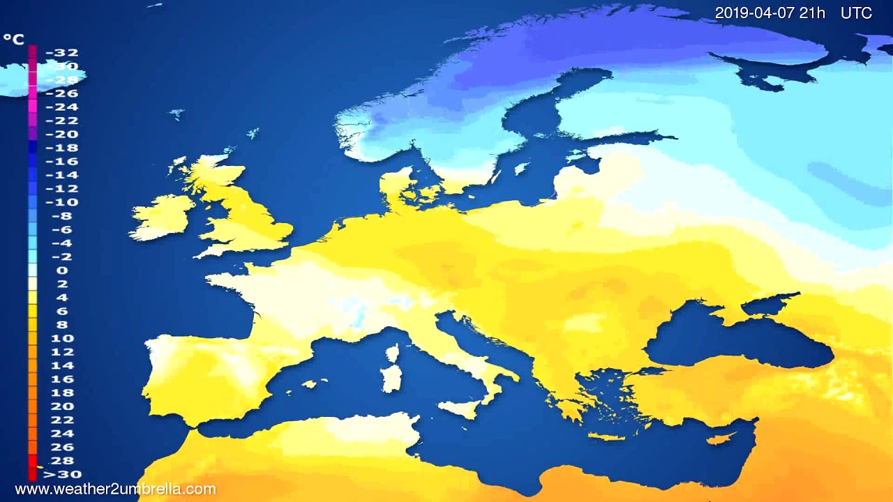 Temperature forecast Europe // modelrun: 00h UTC 2019-04-06