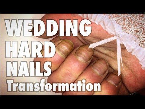 Nail designs - HARD NAILS WEDDING TRANSFORMATION LONG GEL NAILS EXTENSION & EASY NAIL ART DESIGN MANICURE AT HOME