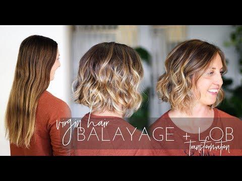 Balayage Technique on Virgin Hair with Long Bob Haircut   Short Hair Transformation!