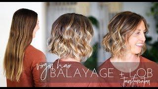Video Balayage Technique on Virgin Hair with Long Bob Haircut | Short Hair Transformation! MP3, 3GP, MP4, WEBM, AVI, FLV Oktober 2018