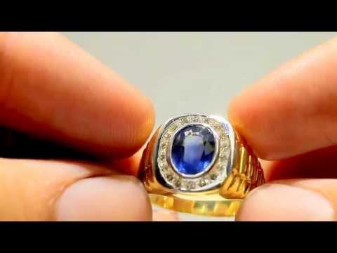 3.10tcw Blue Sapphire & Diamond Mens Ring 18k