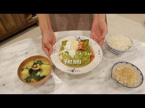 【SUB】【一日两餐】孤独的美食家复刻·包菜肉卷 | 巧克力豆乳隔夜麦片 | 终于,海边散步 |当归V… видео