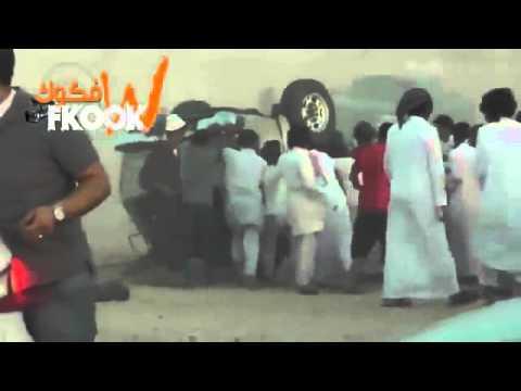 حادث تفحيط وانقلاب جمس في شارع غروب الاسكان شرق مدينة الرياض