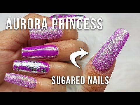 Gel nails - ACRYLIC NAILS WITH AURORA PRINCESS GEL POLISH DESIGN