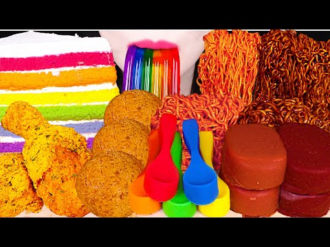 MOST POPULAR FOOD FOR ASMR *RAINBOW FOODS, BLACK BEAN NOODLES, SPICY NOODLES, CHICKEN, CHEESE BALL