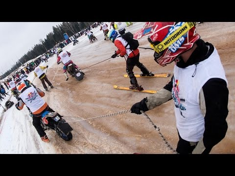 Skiing Behind Motorcycles Looks Crazy Fun