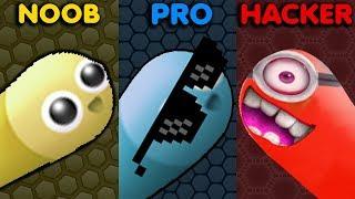 NOOB vs PRO vs HACKER in Slither.io Gameplay!