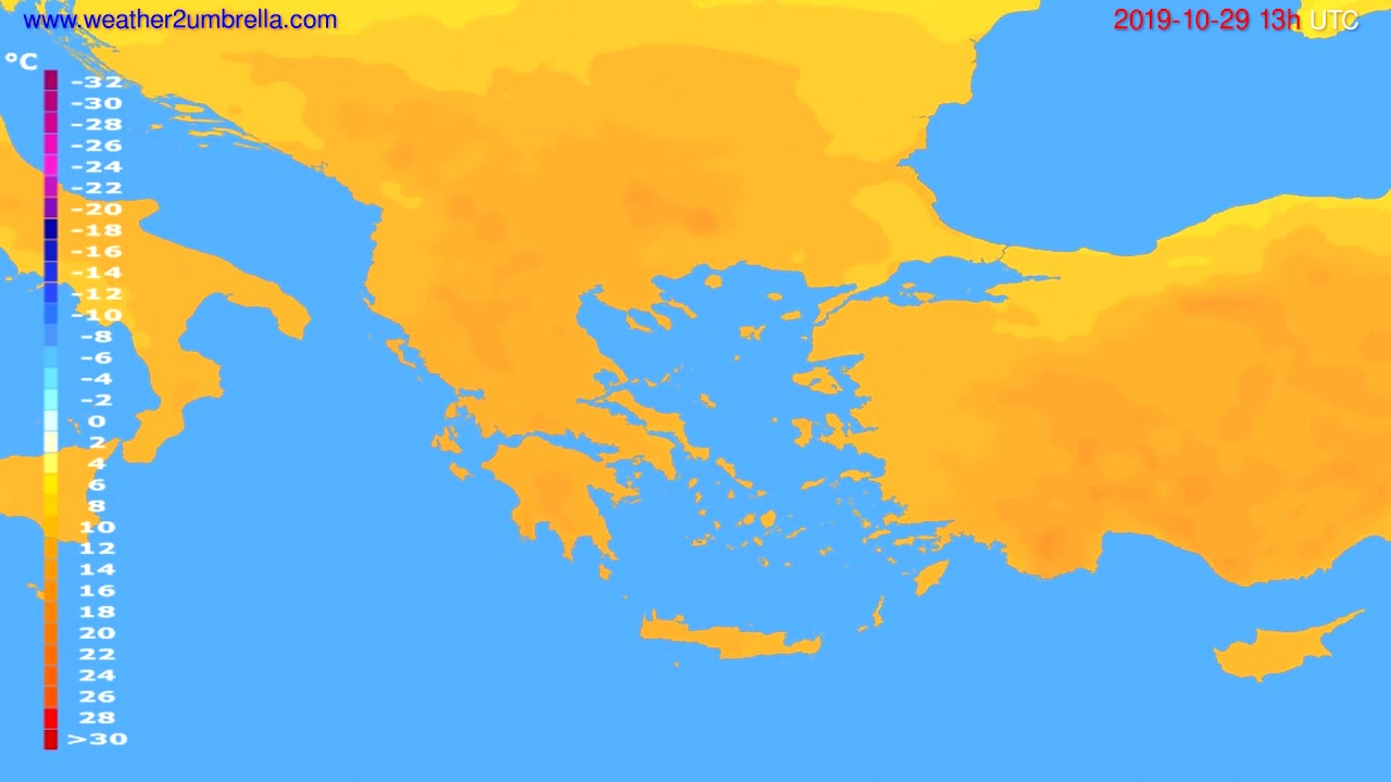 Temperature forecast Greece // modelrun: 00h UTC 2019-10-28