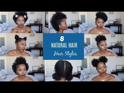 Short hair styles - Natural Hair Styles for Short to Medium hair:  (4b 4c ) Half up, Space Bun, High puff POST BIG CHOP