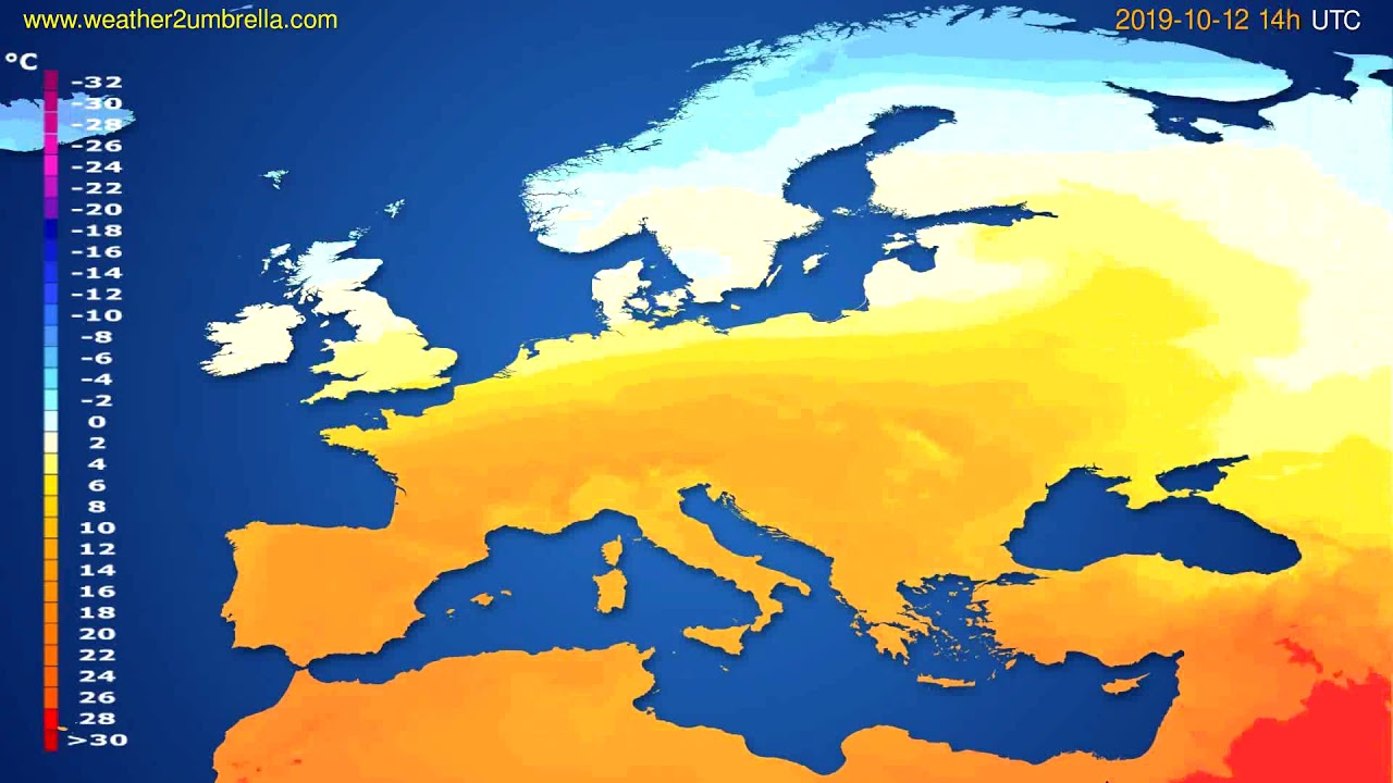 Temperature forecast Europe // modelrun: 12h UTC 2019-10-09