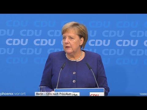 Pressekonferenz von Angela Merkel nach der CDU-Präsid ...
