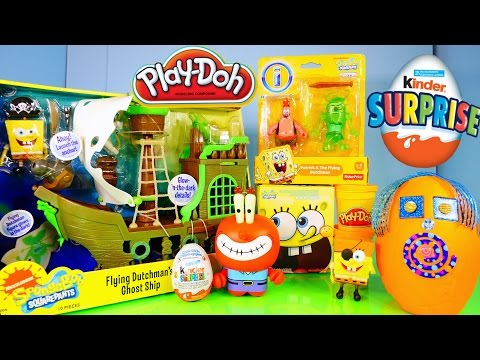 toys - Play Doh Spongebob Surprise Egg + Kinder Surprise + Spongebob Toys Including A Rare Flying Dutchman Pirate Ship !! We Also Open Up A Spongeobob Squarepants Mini World Blind Box :) Visit Disney...