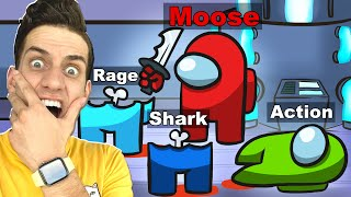 300 IQ AMONG US IMPOSTOR FUNNY MOMENTS! (With UNSPEAKABLE, MOOSE, SHARK)
