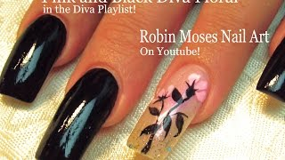 Easy Long Nails Tutorial - DIY Black With Pink Flower Nail Art