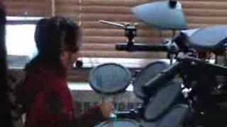 Two person family band drum and synth 6 7 years old drummer