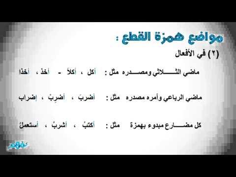 ألف الوصل - املاء - لغة عربية للصف الخامس الابتدائى