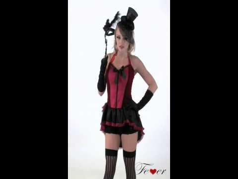 Déguisement burlesque rouge et noir pour femme