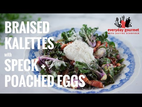 Braised Brussels Sprouts & Kalettes with Speck and Poached Eggs | Everyday Gourmet S7 E35