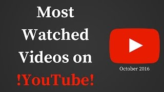Most watched videos on YouTube ever  October 2016. Here is the list of most watched YouTube videos ever. This list is made in October 2016. Top 10: 10. 'Bai...