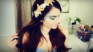 Mermaid Makeup, Hair, & DIY Seashell Headband I Halloween 2013 - YouTube