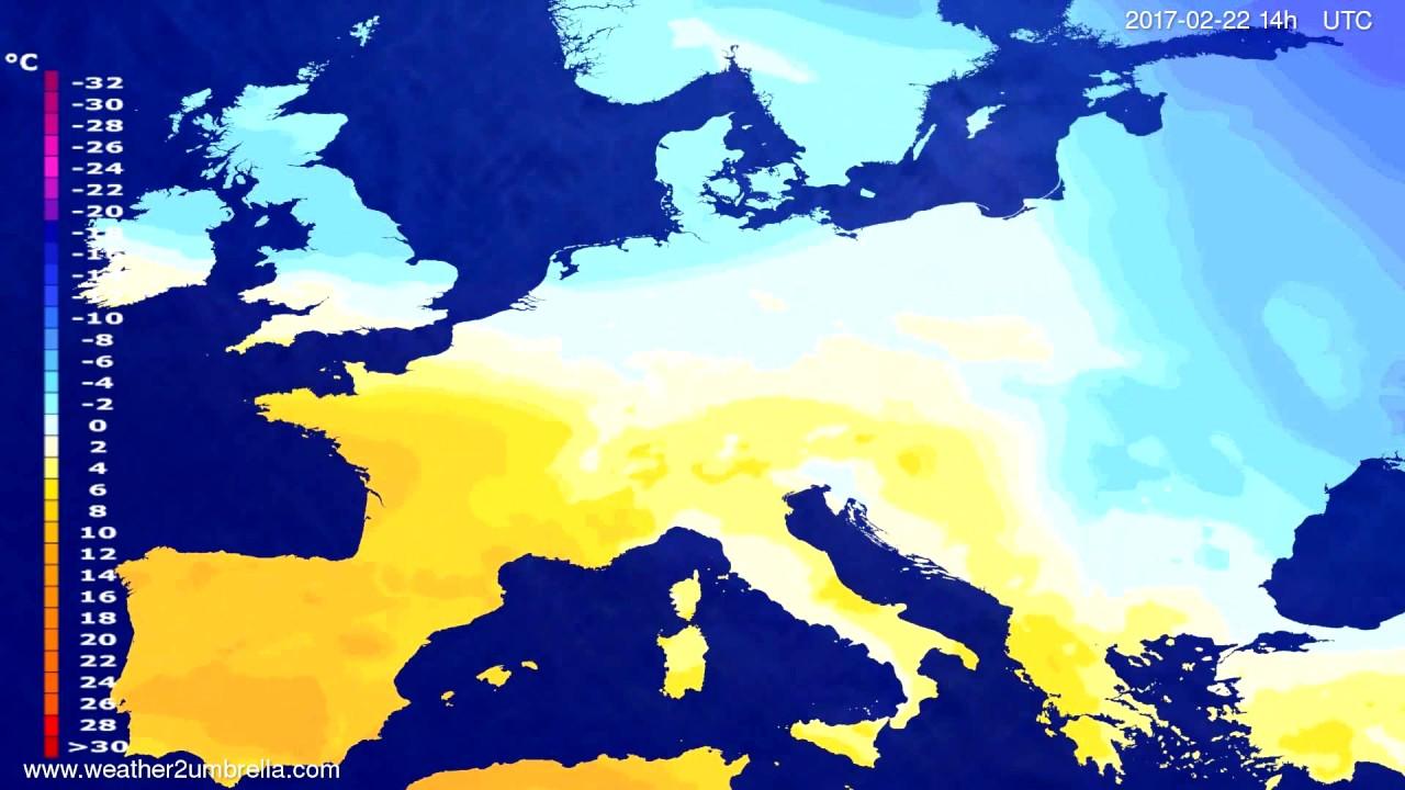 Temperature forecast Europe 2017-02-18