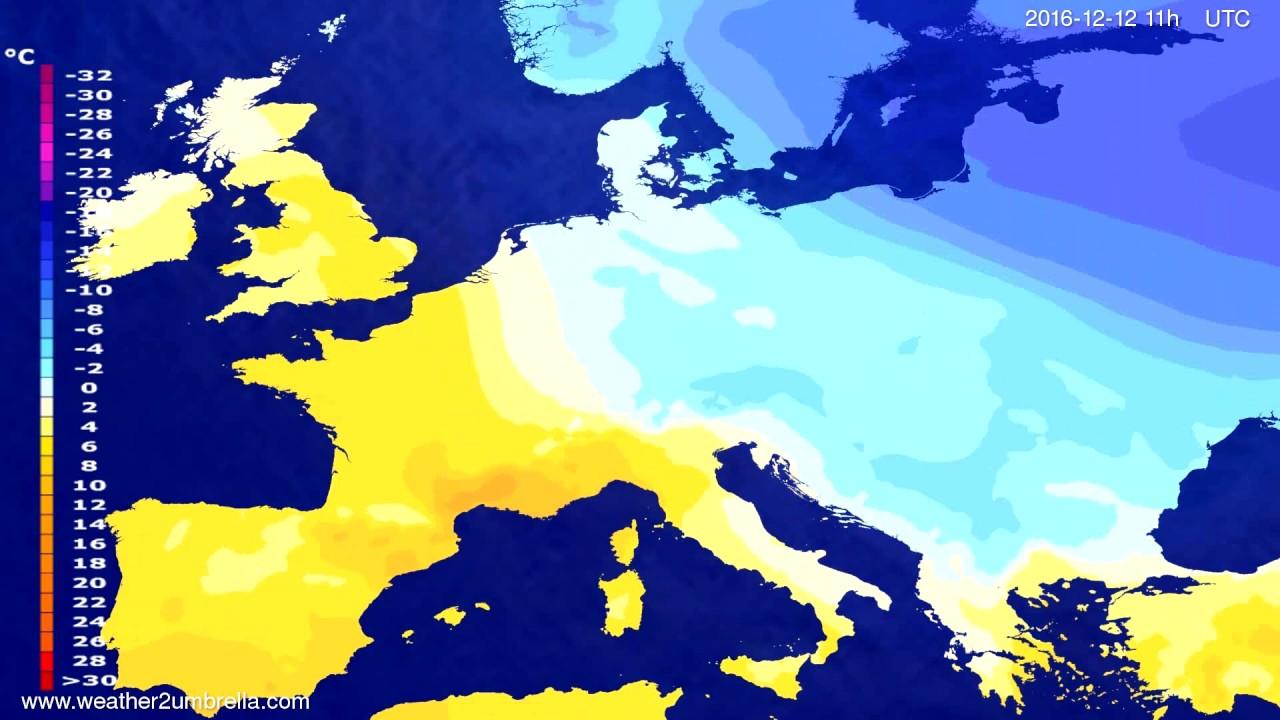 Temperature forecast Europe 2016-12-09