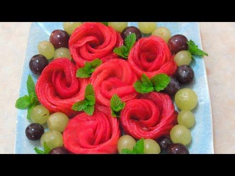 How to make Rose Fruit platter - プラムを可愛くバラに!
