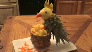 How to make a Pineapple Parrot (Food Art)