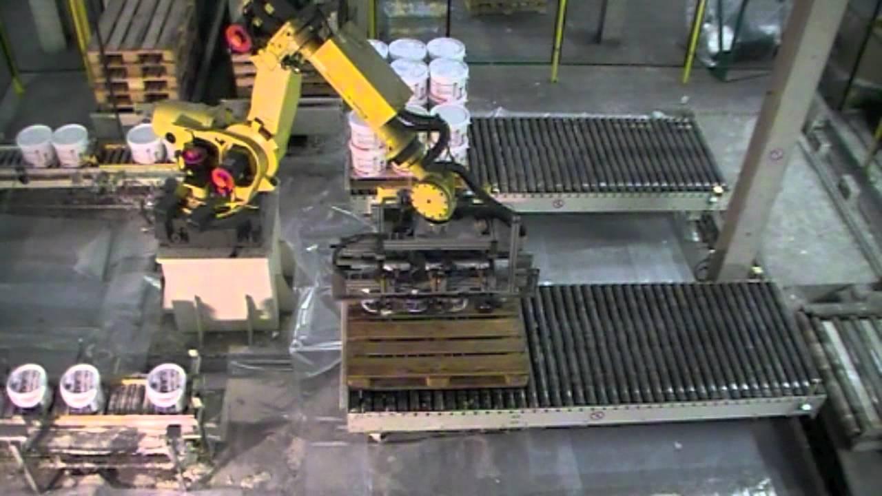 Palettisation robotisée de seaux de colle