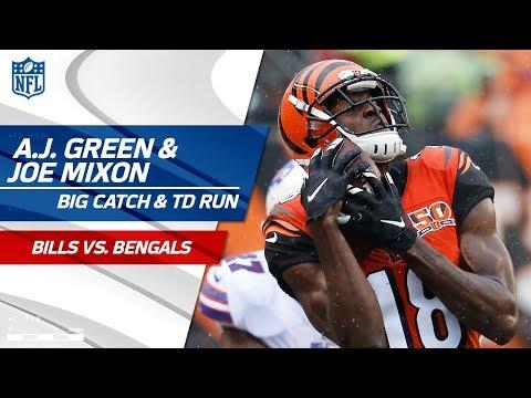 Video: A.J. Green's Sick Catch-'n-Run Sets Up Joe Mixon's Juking TD Run! | Bills vs. Bengals | NFL Wk 5