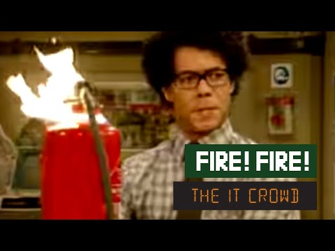 crowd - Moss deals with the fire emergency in the only way he knows how - by sending an email.