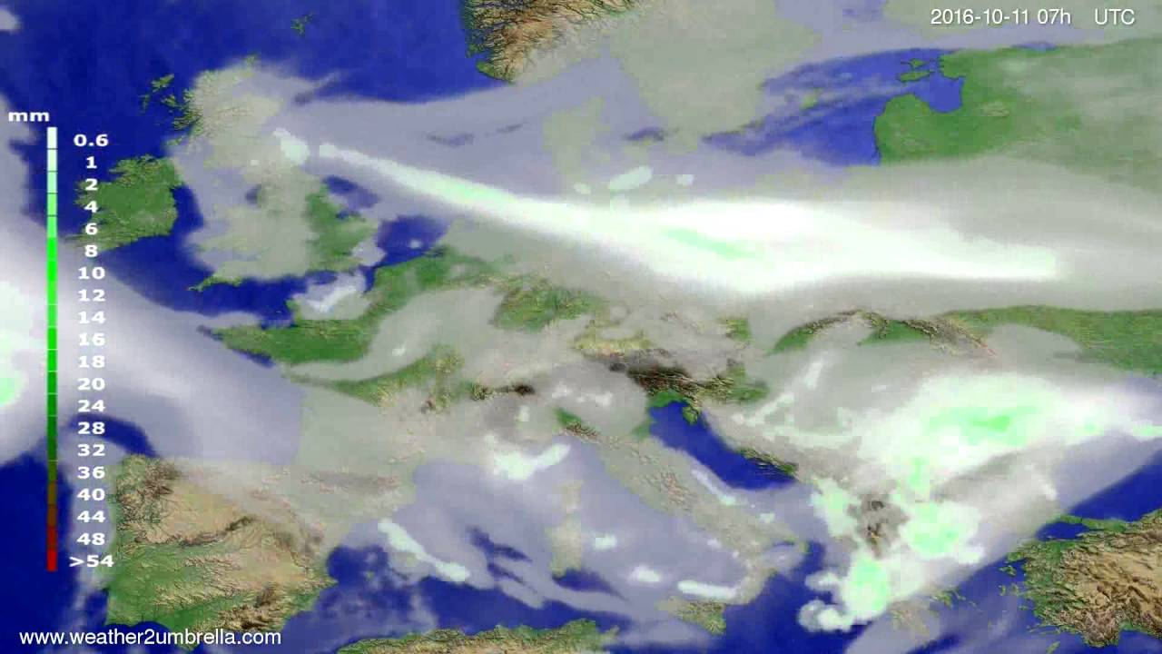 Precipitation forecast Europe 2016-10-07