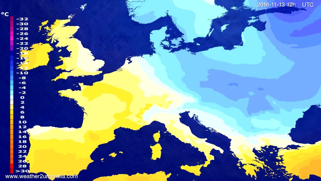 Temperature forecast Europe 2016-11-09