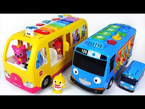 Baby Shark, Tayo~ Help Baby doll! Go! Smart Bus Tayo and Pinkfong Piano Bus! - PinkyPopTOY