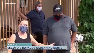 Idosa fica ferida ao cair em buraco na calçada em Marília