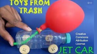 איך להכין מכונית סילון מבקבוק ובלון?
