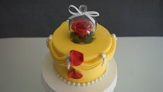 Easy Beauty & the beast Fondant Cake dekoration - DIY Fondant Rose w/o wires & tools - Gcf